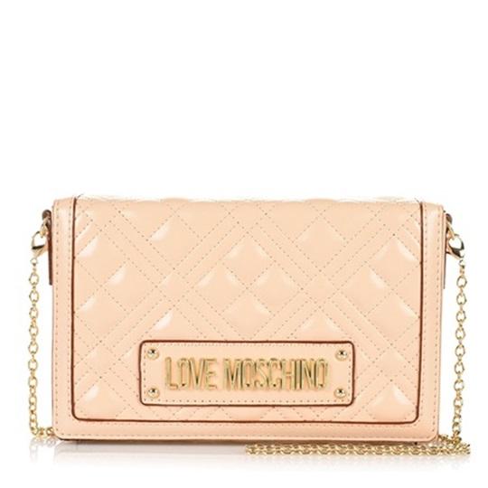 Εικόνα της Love Moschino 4054PP1ALI0110 Καπιτονέ Τσαντάκι Ώμου (Quilted Crossbody Bag) Natural